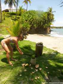 Caroline chopping her coconut…dangerous...