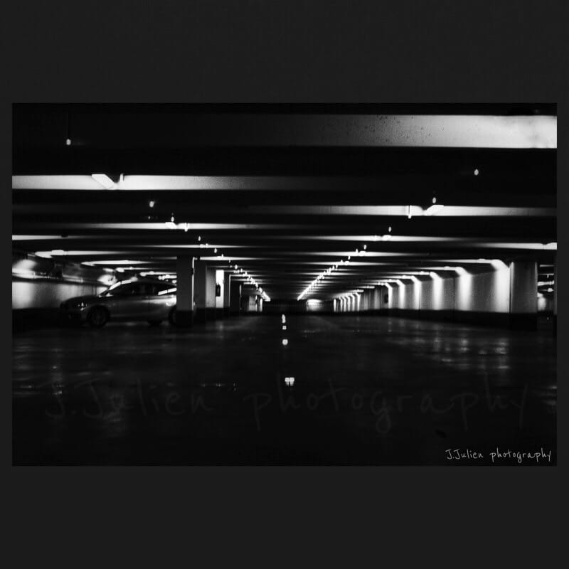 Tunnel futuristic black and white photo