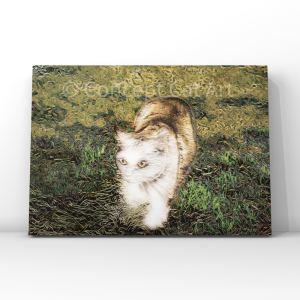 white cat Japanese style painting