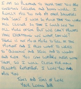 Letter from my father. 12.06.85