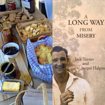 Tea and Damper. The Book Launch of A Long Way from Misery. Photo by Bernie Dobson.
