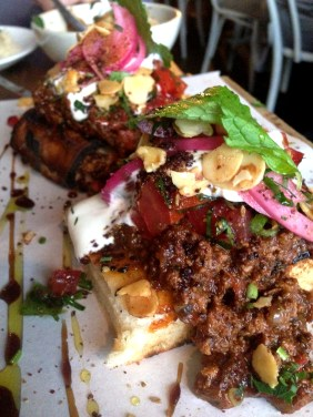 Armenian Lamb Soldiers with Tomato and Pomegranate Salsa, Garlic Yoghurt and Fried Almonds