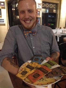 Manager Blake modelling the Marou chocolates