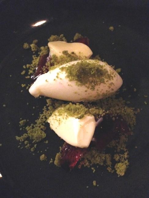Fig leaf ice cream, rose scented geranium leaf posset, raspberry leaf jelly, green tea leaf short bread
