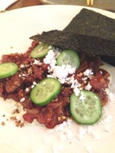 Spicy Wagyu beef tartare with puffed rice, cucumber and nori