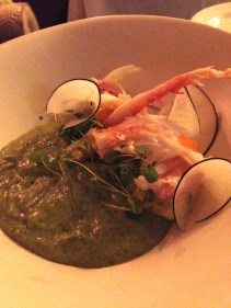 Alaskan King Crab Salad with Avocado, Gzpacho and Crème Fraiche