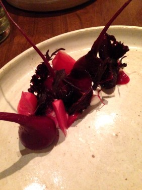 Beetroot and buffalo curd, rye and hibiscus