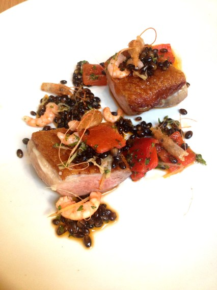 Duck from Wagin, Clarence River school prawns and Black barley
