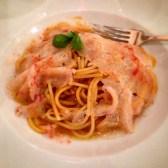 Spaghetti with raw prawn