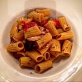 Macaroni with tomato seafood sauce