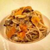 Spaghetti with clams and nice chunks of bottarga
