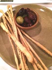 Olives and grissini