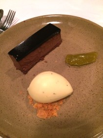 Chocolate pavé, mint ice-cream, olive oil jelly