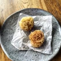 Potato nest with porcini powder