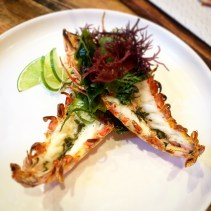 King prawns with seaweed butter and Japanese seaweed