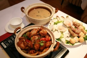 Hong Kong Style Chicken Hotpot with seafood and vegetable plate
