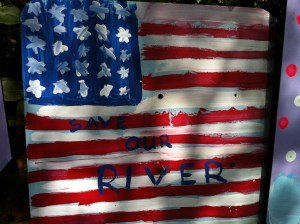 """Save our River,"" River Kidz FDOT recycled art sign, now in Washington DC, office of Congressman Patrick Murphy. (Photo JTL)"
