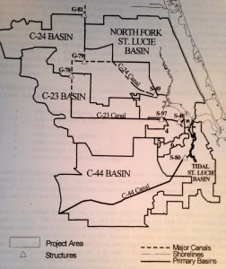 Basins whose water runoff flows into the St Lucie River, note C-44 south. (SFWMD, 1999.)