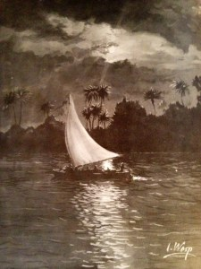 Paining by I.Wesp of Benjamin Pierce and troops sailing down the IRL- (Tales of Sebastian, 1990.)