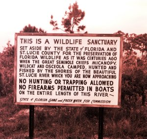 Preserve sign in the the area of Pruitt's Fish Camp, near today's Club Med.