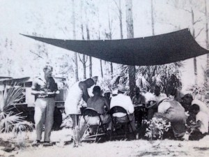 South Fork of the St Lucie River, hyacinth removal,     Rod and Gun Club-effort to solve problem with herbicide and dynamite, 1949.( Thurlow collection.)