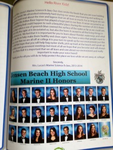 Page of authors: Mrs Lucas' JBHS Marine Biology students, 2013