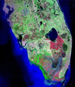 Satalite image of south Florida, 1980, NASA. Public photo.) (http://www.nasa.gov/vision/earth/environment/wetland_freeze.html)