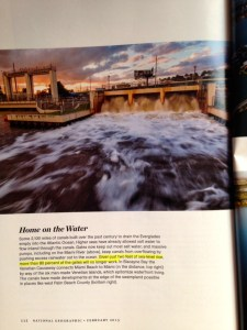 "National Geographic page 112. ""Given two feet of sea level rise, more than 80 % of the gates will no longer work."""