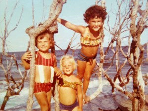Somewhere down from Bathtub Beach ca 1969- Lynda Nelson, Cindy Luce, and me. (Photo Thurlow Family Album)