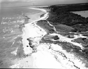 "1949 aerial photo of the Peter Klive house on Hutchison Island. Near this area became ""Bathtub Tub Beach"" and the exclusive development of Sailfish Point. (Photo Thurlow Archives/Ruhnke Collection.)"
