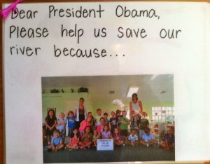 Ms D'Apolito's class at the Montessori School was one of many schools that wrote the president for help to save the SLR/IRL in 2013. (Photos JTL from the book the class sent to the White House, 2013.)