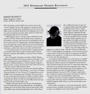 Jimmy Buffett's biography in the UM program, 2015.
