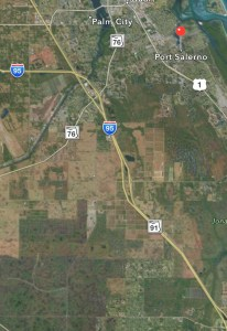 Left side of map shows C-44 canal's abrupt diversion north the a branch of the South Fork of the SLR. Original plans had the canal continuing its easterly  direction to connect with the Manatee Pocket. (DEP Eco Summary/Google Maps 2015.)