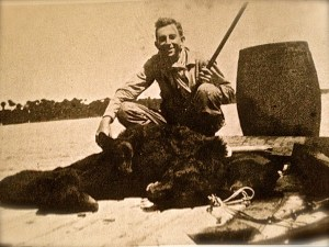 "Mr Reginald Waters with black bears killed on Hutchinson Island, around 1930. (Photo credit Sandra Thurlow, Sewall's Point,"" A History of a Peninsular Community on Florida's Treasure Coast""/Reginald Waters Rice)"