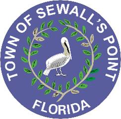 Town of Sewall's Point seal brown pelican and satin leaf, 2015.