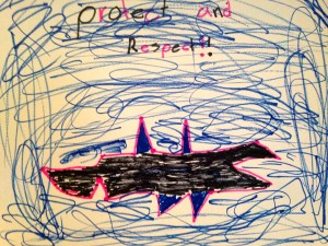 A SAVE OUR SHARKS drawing by a JD Parker Elementary student, 2015 as part of the River Kidz in our schools program. (Photo JTL)