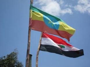 Ethiopian flag and local flag