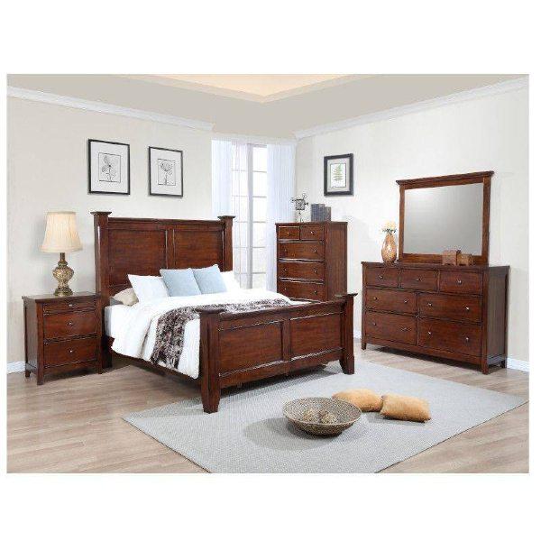 kingston 5 piece cherry wood king size bedroom set with headboard