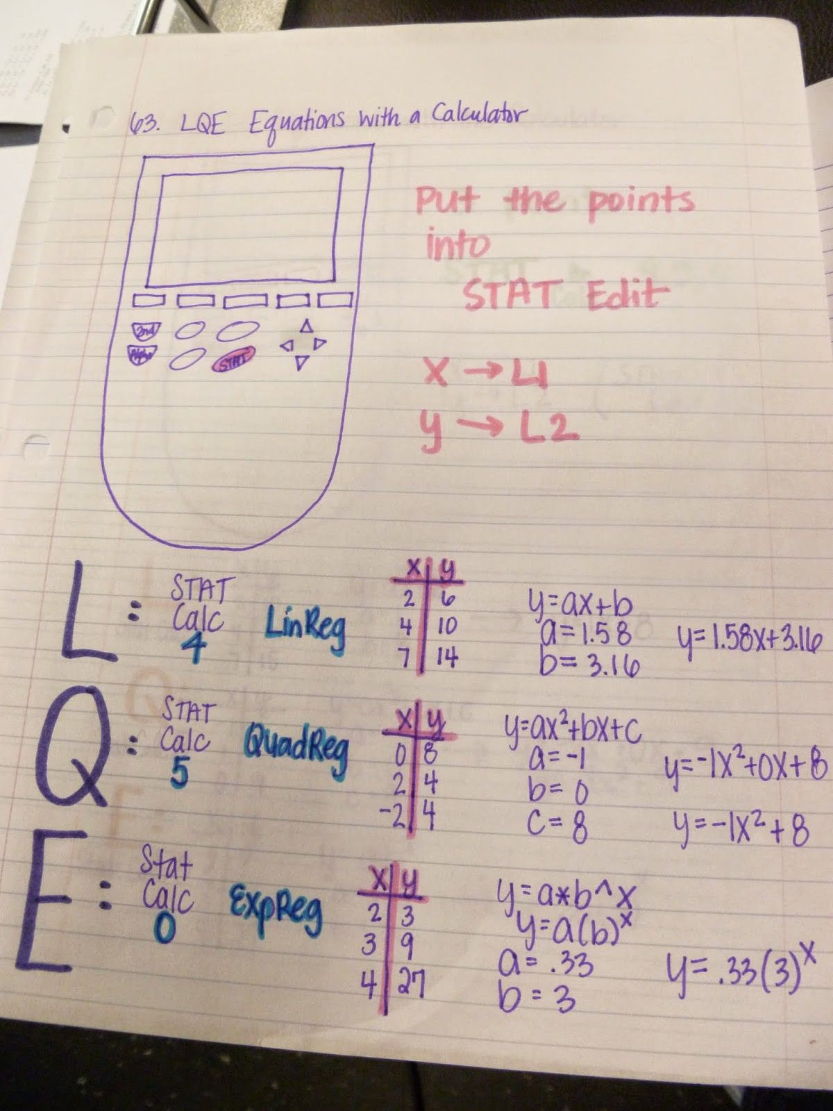 30 Linear Quadratic Exponential Tables Worksheet