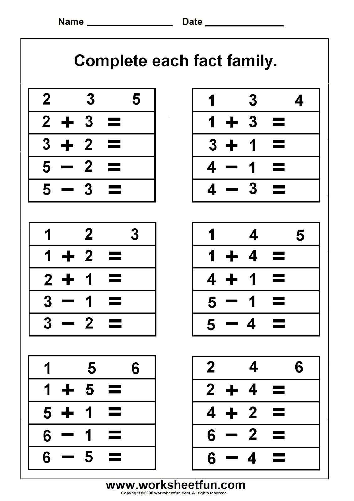 30 Multiplication Fact Families Worksheets