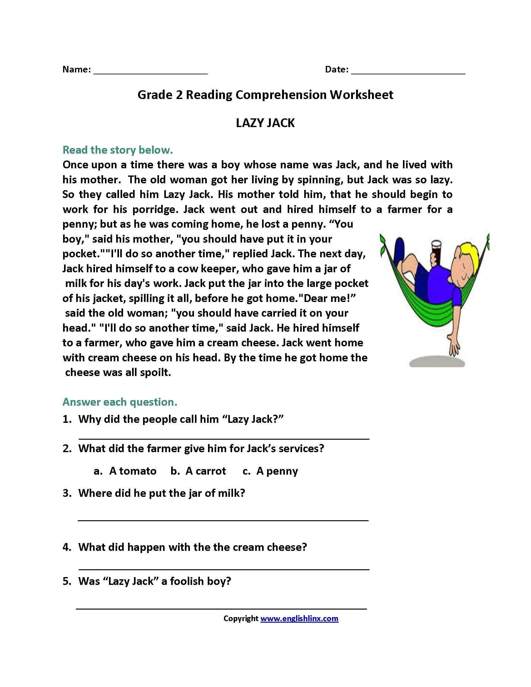 30 2th Grade Reading Comprehension Worksheets