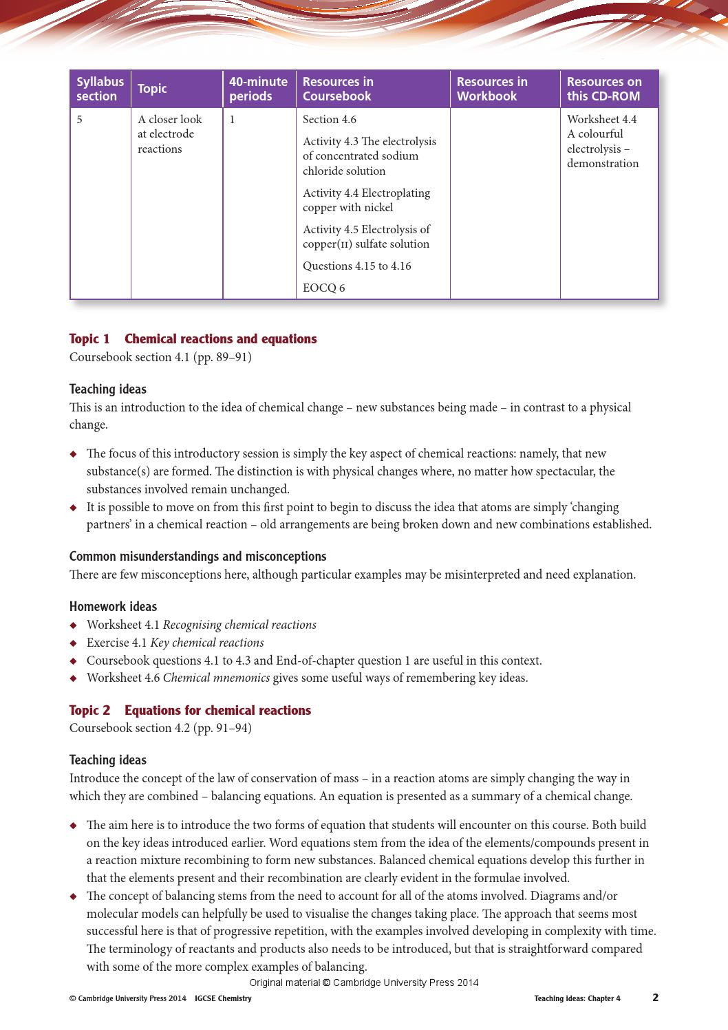 30 Introduction To Chemical Reactions Worksheet