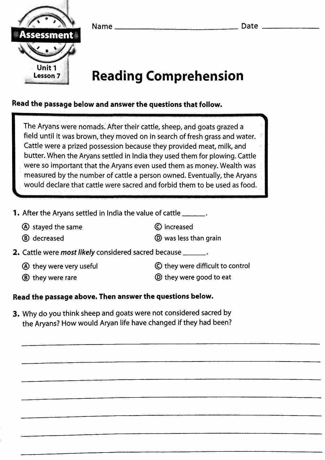 Reading Comprehension Worksheets Grade 2 Template Library