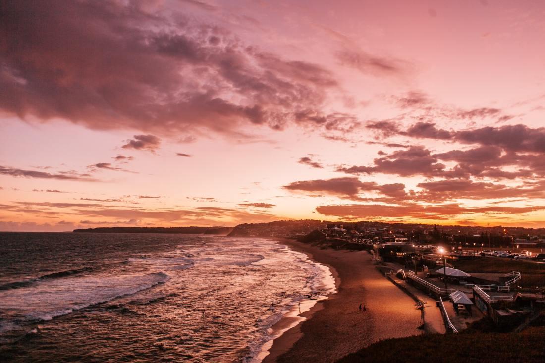 Newcastle beach at sunset