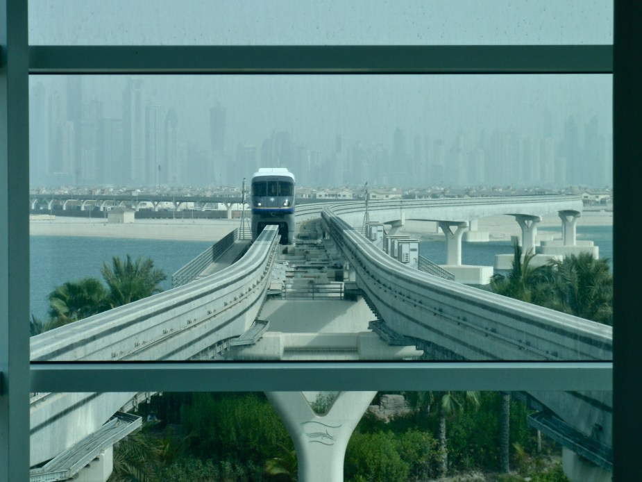 Monorail heading out to the Palm Islands, Dubai. Image by Jade Jackson