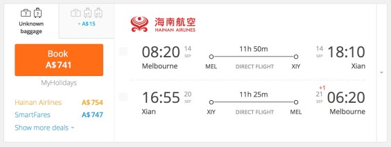 Hainan Airlines MEL-SIA