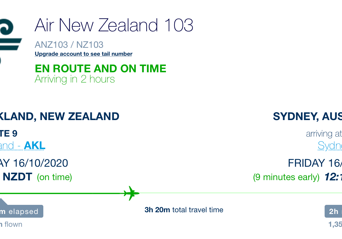 Air New Zealand Flight Auckland to Sydney