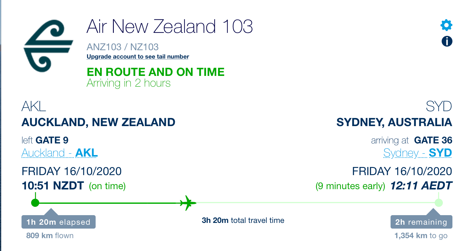 Air New Zealand Flight Auckland to Sydney