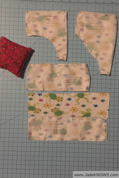Baby underwear pattern pieces with a pin cushion