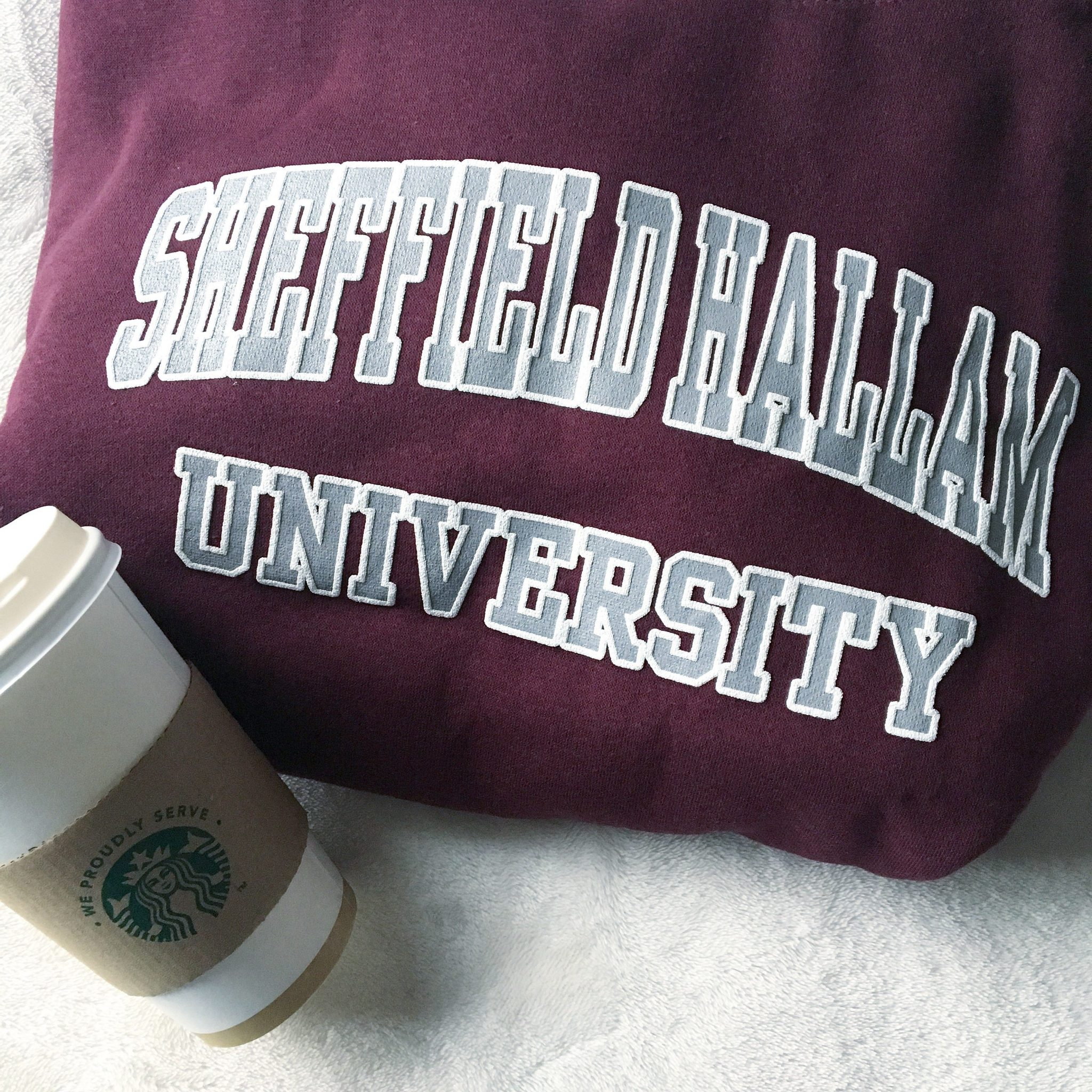 Sheffield Hallam Hoodie and Starbucks